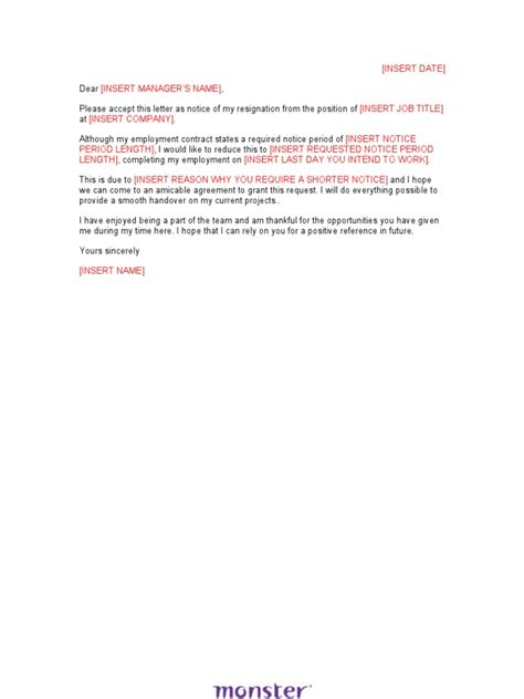 Notice Resignation Letter With Buyout Resignation Letter Sle Shorten Notice