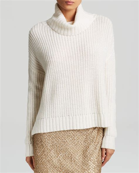 Boxie Sweter lyst joie sweater calantha boxy ribbed turtleneck in white