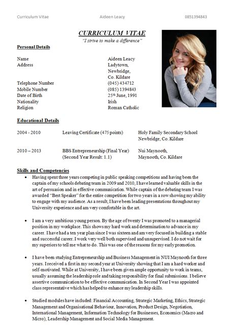 Cv Writting by Writing Curriculum Vitae Aideenleacy