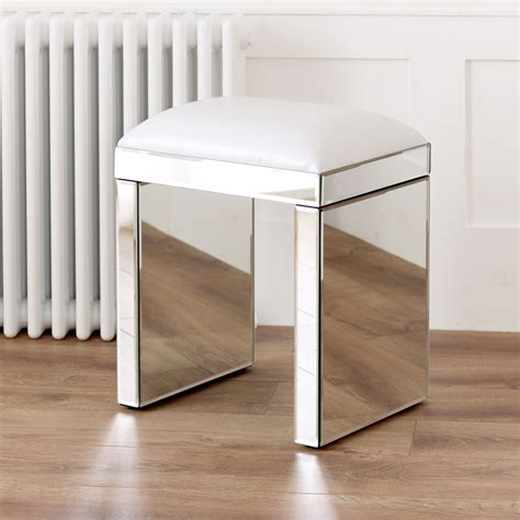 Dressing Table Mirror Stool by Venetian Mirrored Dressing Table Set With White Stool