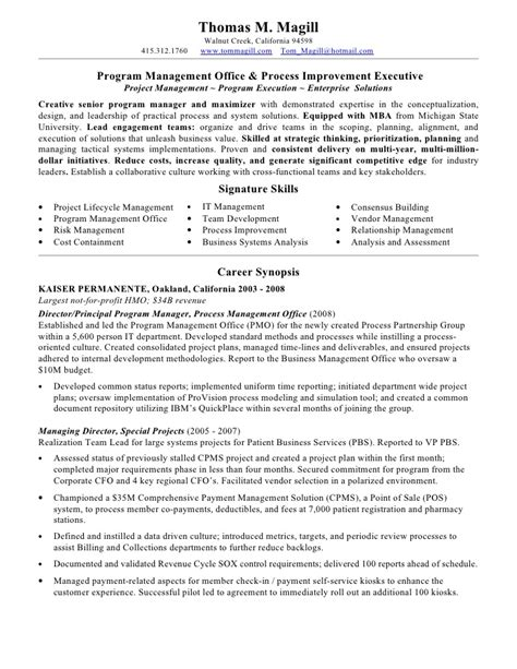 pmo manager resume magill resume pmo process 2010