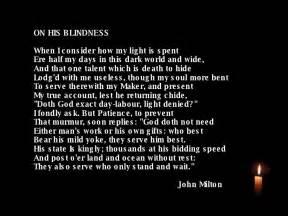 Blind Man In The Dark On His Blindness John Milton
