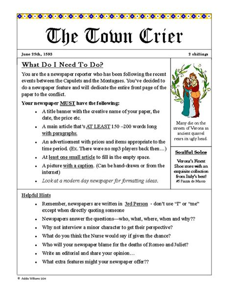 book report of romeo and juliet romeo juliet newspaper project students create a