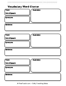 Vocabulary Definition Template by Vocabulary Word Definition Form Freeology