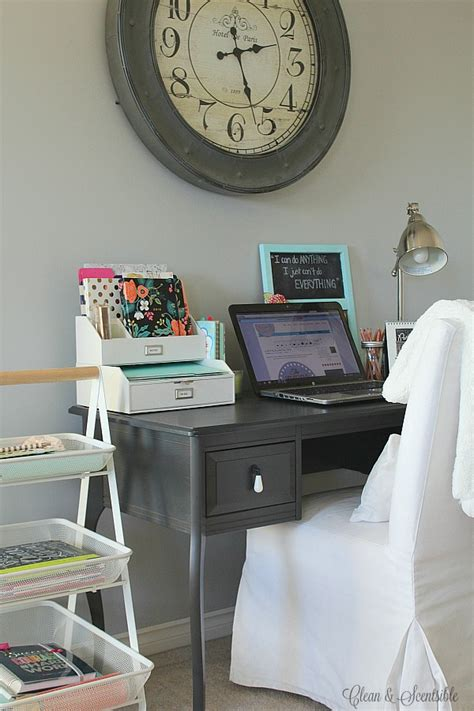small desk organization ideas clean  scentsible