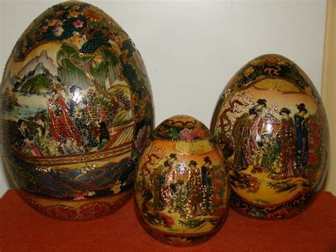 satsuma decorative eggs vintage decorative satsuma set of 3 geisha scene eggs ebay