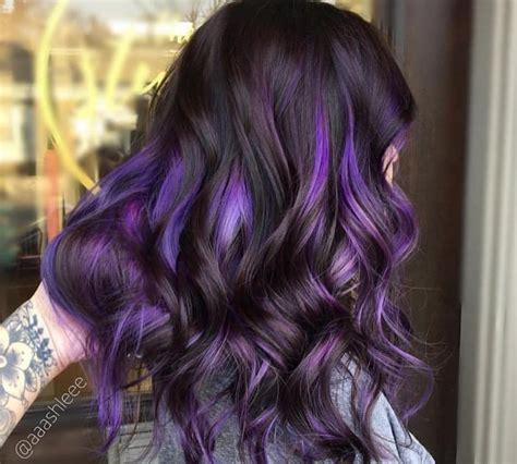 photos purple highlights for dark hair warm dark brown purple highlights on dark hair is the latest instagram trend