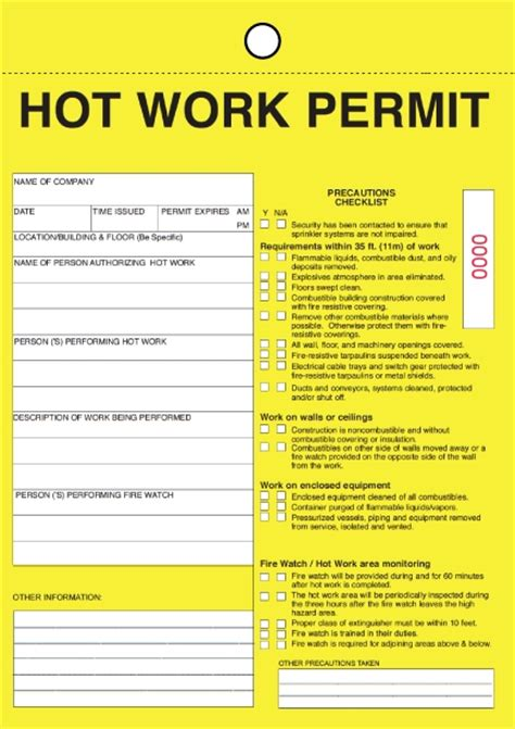 permit to work template work permit form business form templates