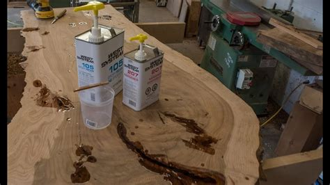 fill cracks  epoxy  edge table pt  youtube