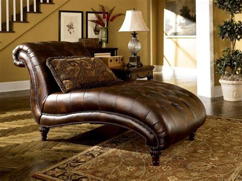 ashley furniture leather chaise ashley famous collection antique leather chaise lounge