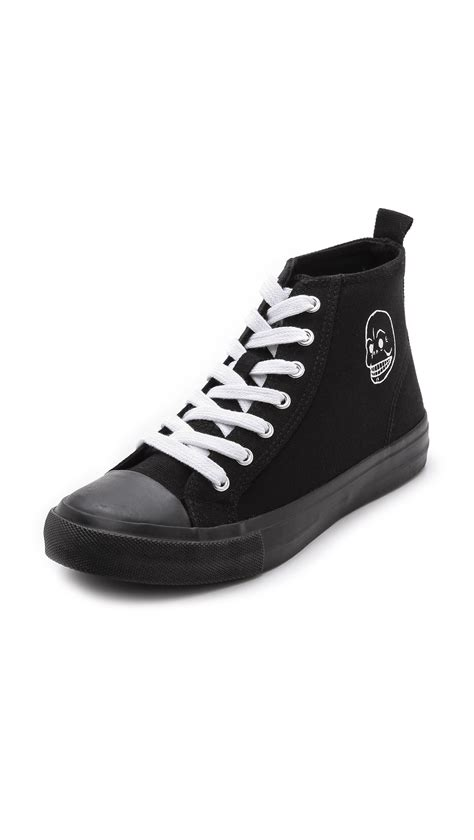 cheap monday base high top sneakers white in black lyst