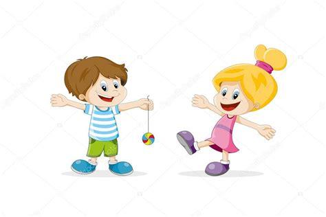 dibujos de niños jugando y peleando caricatura de dos ni 241 os felices jugando vector de stock