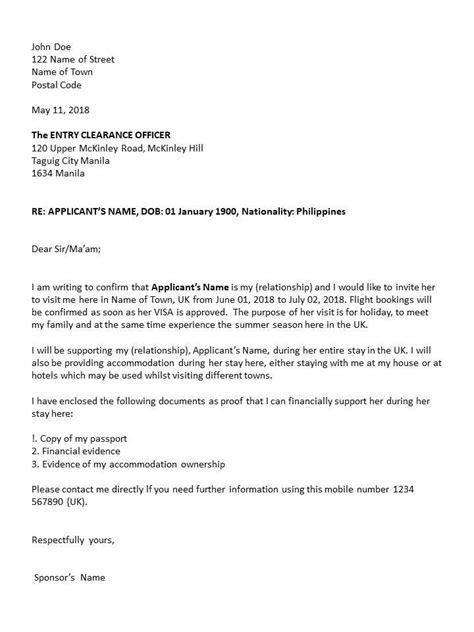 sponsors invitation letter sample uk visit visa