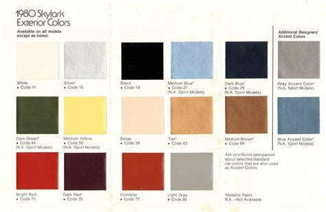 1980s colors 1980 buick skylark color chart
