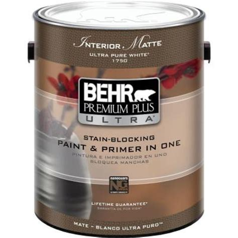 home depot paint with primer included behr premium plus ultra 1 gal ultra white matte