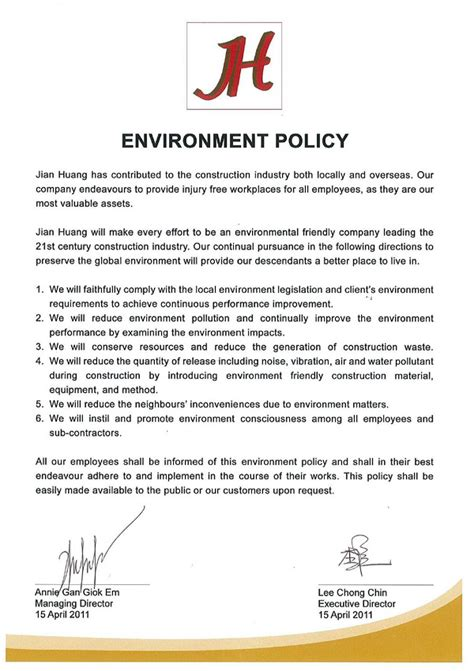 environmental policy design design and build for industrial building construction