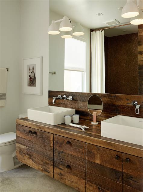 rustic modern bathroom vanity industrial floating sink vanity design ideas