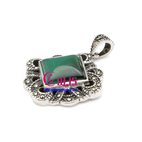 wholesale gemstones for jewelry square emerald gemstones pendants made of stainless steel