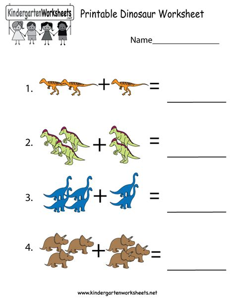 this is a dinosaur addition worksheet for preschoolers or