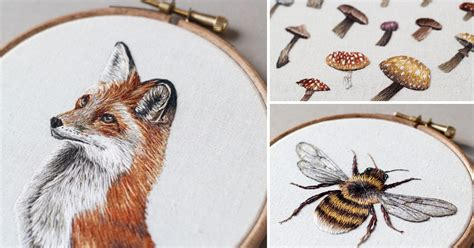 embroidery animals embroidered mushrooms animals and other forest creatures