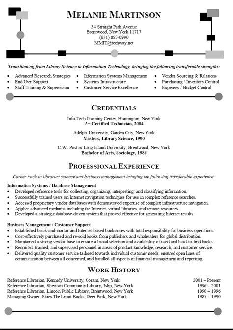 Career Change Resume Sle by Career Change Resume Sle For Library Science To It
