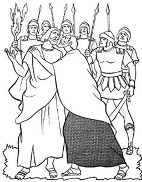 coloring page jesus arrested coloring page judas betrays jesus in the garden of