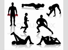 Silhouettes of exercises people | Stock Vector | Colourbox Exercise Clip Art Free To Copy