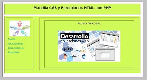 php div desarrollo de plantilla web con css formularios html y
