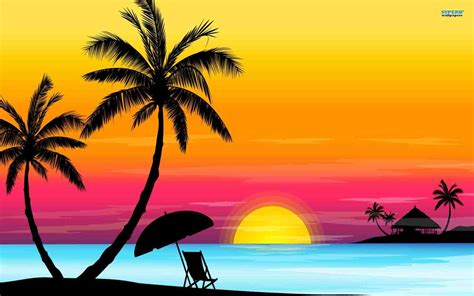 wallpaper easy palm tree sunset drawings paint drawing color and
