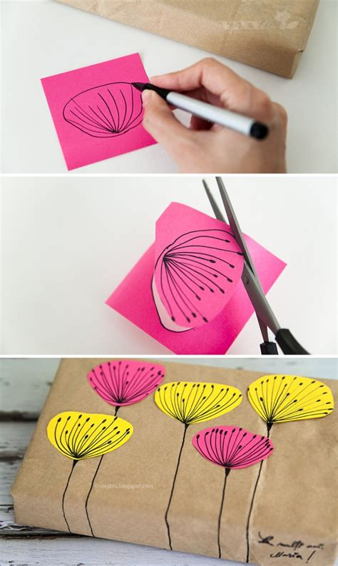 how to make lovely diy gift wrap with recycled paper bag step by step tutorial