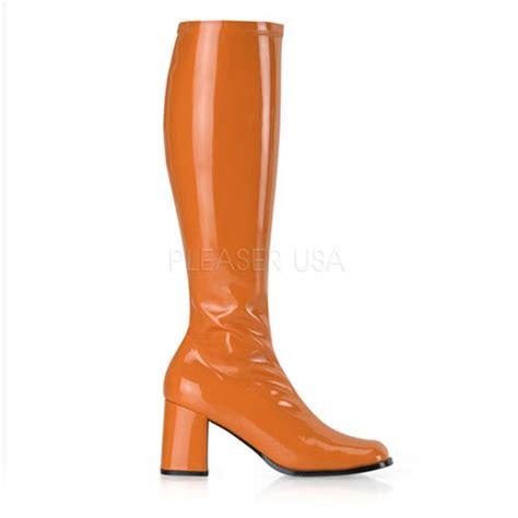orange stretch patent block heel gogo boots boots catalog