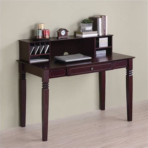 Small Writing Desk With Hutch Not Available Walker Edison Solid Wood Writing Desk With Hutch In Walnut Dw48s30 Dhwb