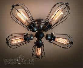 Ceiling Fan With Cage Light 2015 New Rustic 5 Lights Iron Cage Ceiling Fan L