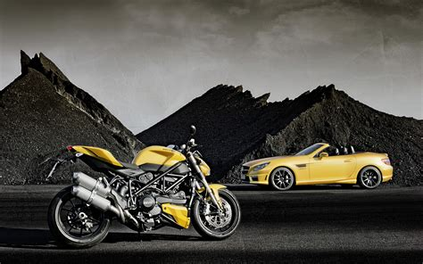 Car Wallpaper For Moto E by 2012 Mercedes Slk 55 Amg Ducati Streetfighter 848