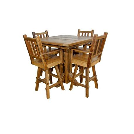 Pedestal Counter Height Table And Stools by Rustic Reclaimed Barn Wood Pedestal Pub Table With 4