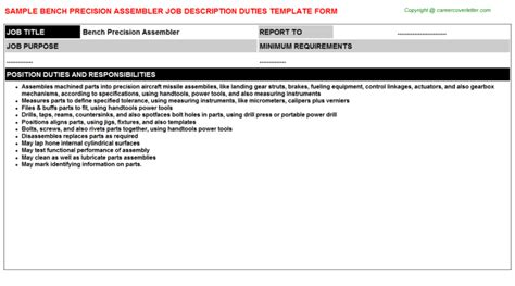 bench description bench precision assembler job descriptions