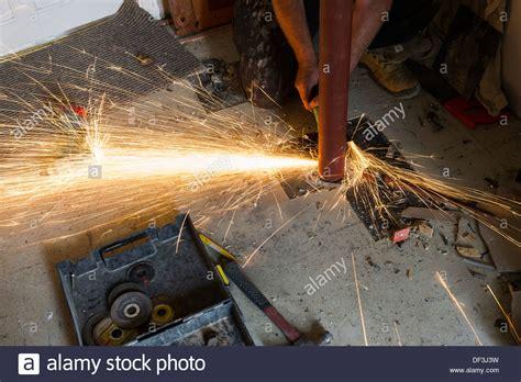 Cutting Metal Grinder Sparks Grinding Stock Photos
