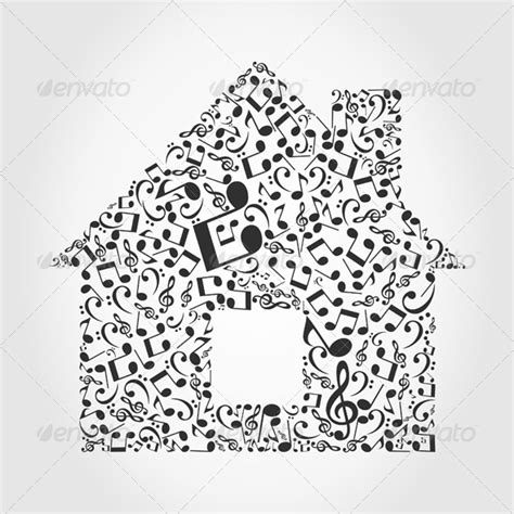musical house house made of musical notes graphicriver
