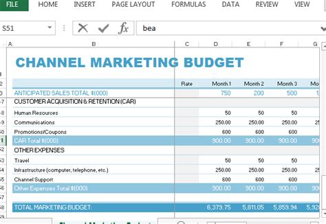 channel marketing budget template  excel