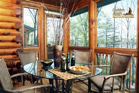cabin floor plans with screened porch golden eagle log homes log home cabin pictures photos