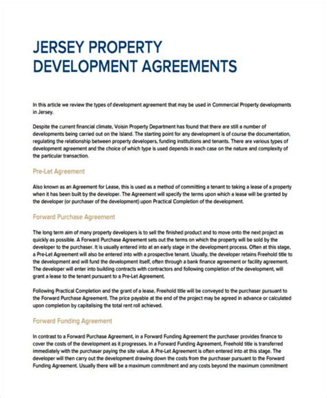 real estate development agreement template 28 images