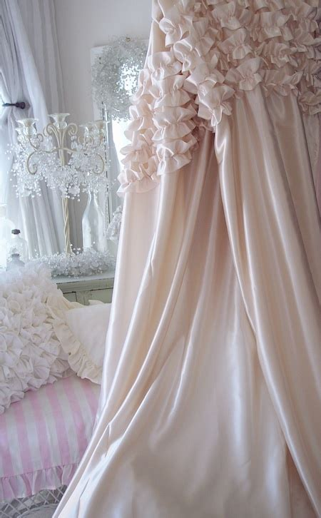 cottage curtains romantic shabby chagne dreamy satin ruffles chic bath
