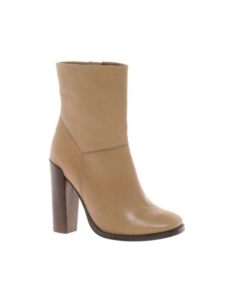 beige high heel boots asos asos achieve leather ankle boots with high heel in