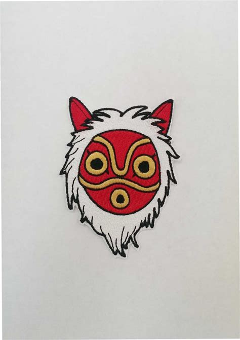 princess mononoke mask fully embroidered by littlebearspatches