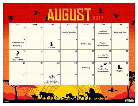 disney desk calendar 2017 august 2017 printable calendar disney family
