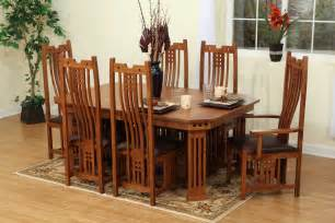 9 pieces oak mission style dining room set with hexagon dining table and chairs with high back