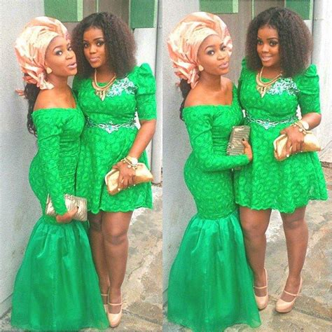 asoebi bella short gowns aso ebi green and coral nigerian wedding bride dress and