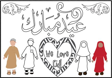 eid card templates to colour happy eid coloring pages coloring pages