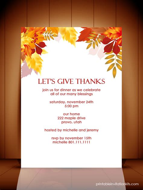 Thanksgiving Invitation Template thanksgiving dinner autumn invitation template wedding
