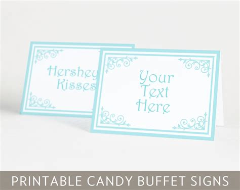 Printable Classic Candy Buffet Signs In Acqua Blue Classic Buffet Signs Templates